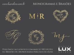 Monograma ou Brasão em Relevo Metalizado Ouro