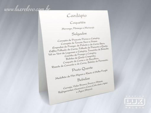 Acessório em Papelaria de Casamento Cardápio Duplo