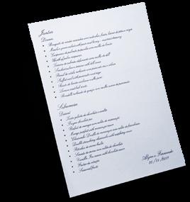 Acessório em Papelaria de Casamento Cardápio Simples