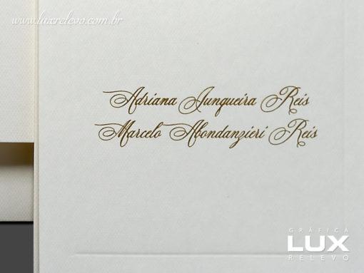 Cartão Social modelo Roma em papel Markatto Concetto Naturalle com impressão em Relevo Americano