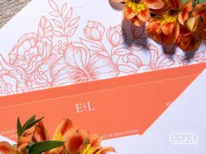 Convite de Casamento Romântico Moderno Floral Brasil G 2019