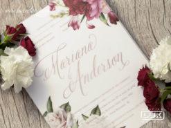 Convite Romântico Floral Aquarela Caribe M 2019