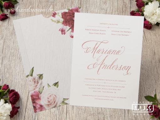 Convite de Casamento Romântico Floral Aquarela Caribe M 2019
