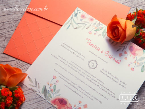 Convite de Casamento Romântico Floral Aquarela Chicago M 2019