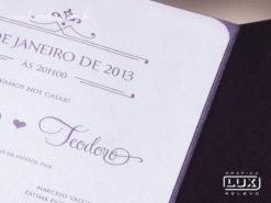 Convite de Casamento Romântico Luxo Copenhagen Vertical G