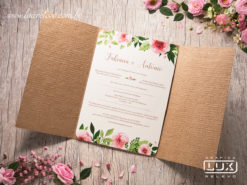 Convite de Casamento Romântico Rústico Floral Aquarela Copenhagen Vertical G 2018