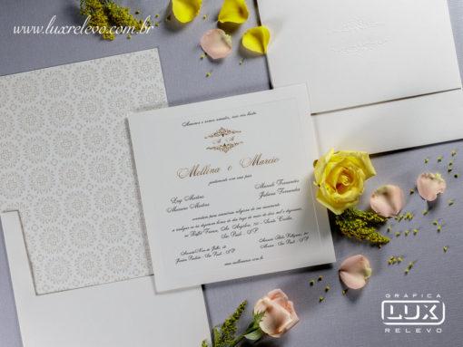 Convite de Casamento Clássico Luxo Edimburgo G 2017