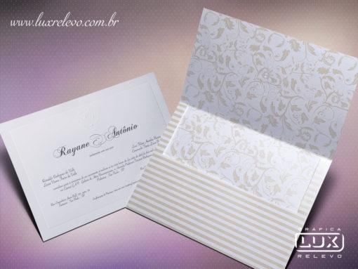 Convite Clássico Luxo Floral Edimburgo Retangular GG
