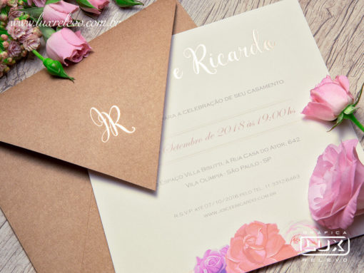Convites de Casamento Rústico Romântico Floral Aquarela Espanha M 2019
