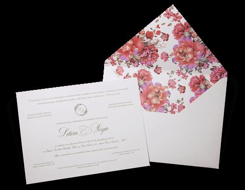 Convite de Casamento Romântico Floral Aquarela França G Floral 2019 Promocional