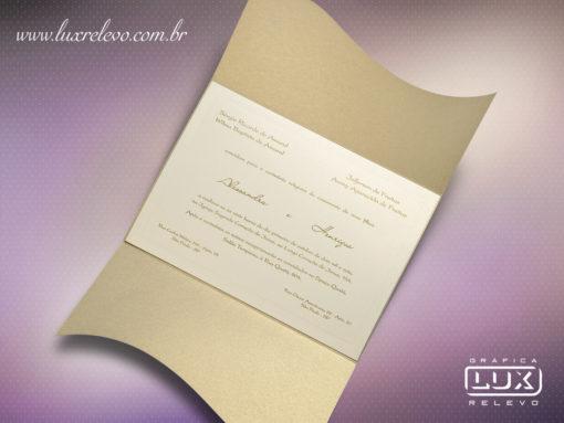 Convite de Casamento Clássico Romântico Luxo Hawaí G