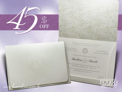 Convite de Casamento Clássico Floral Itália G Promocional