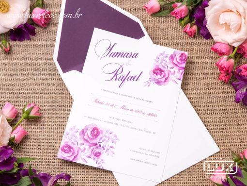 Convite Romântico Floral Aquarela Japão M 2019
