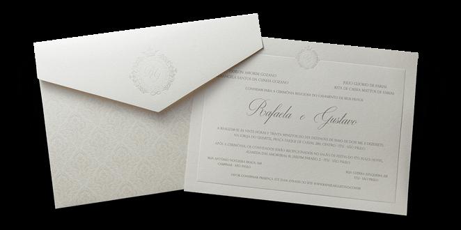 Convite de Casamento Clássico Luxo Johanesburgo G 2018