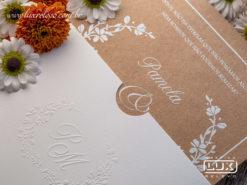 Convite de Casamento Romântico Rústico Floral Lyon P 2020