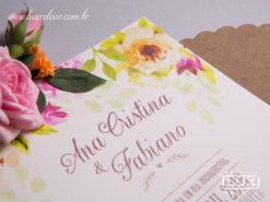Convite de Casamento Romântico Rústico Floral Aquarela Miami P 2018