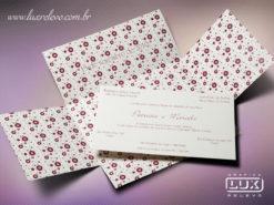 Convite Romântico Floral Luxo Milão XG